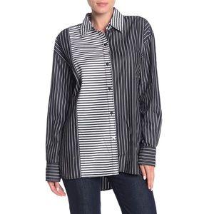 Current/Elliott The Allen Shirt Black Bar Stripe